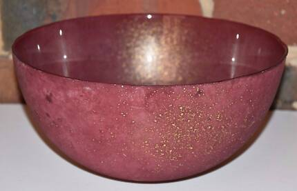 Glass Bowl - Red with Gold Splatter Effect (Dia 26cm, H12.5cm)