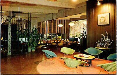 Postcard Mid Century Modern Thomas Inn Interior Bertoia Chairs Monterey CA C3