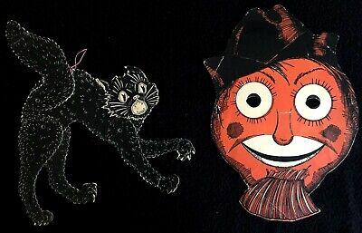 1950's Halloween Decorations (HALLOWEEN 1950s ARTWORK DECORATIONS * BLACK CAT * SCARECROW MASK * WESTERN)
