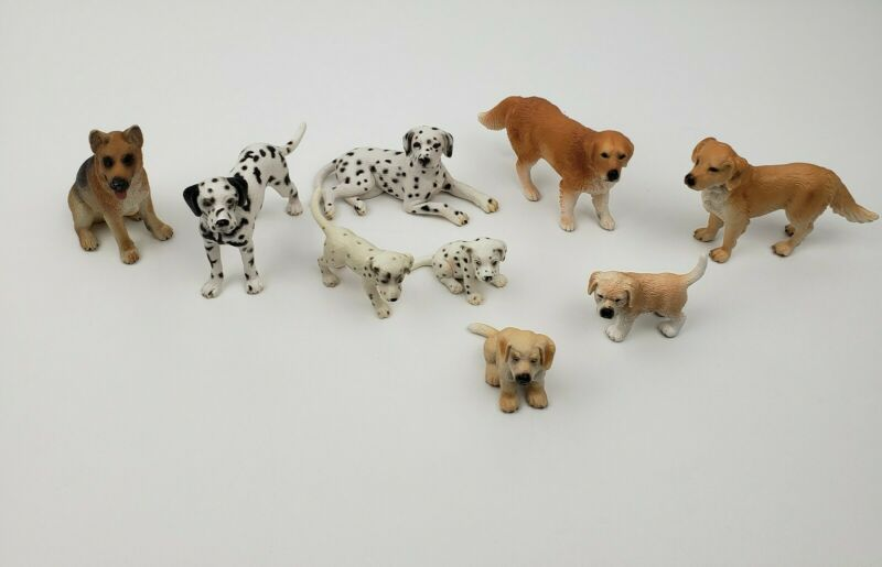 Schleich Dog Collection Dalmation Retriever German Sheppard 9 Pieces