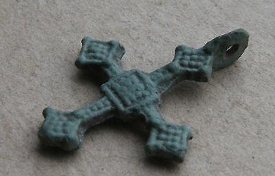 VIKING Period Bronze Decorated Cross Pendant Scandinavian Norse Amulet 900 AD+++