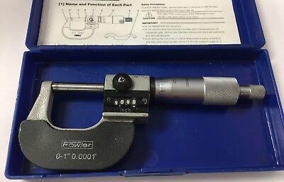 Fowler 52-224-001 Rolling Digital Counter Micrometer 0-1 Range .0001