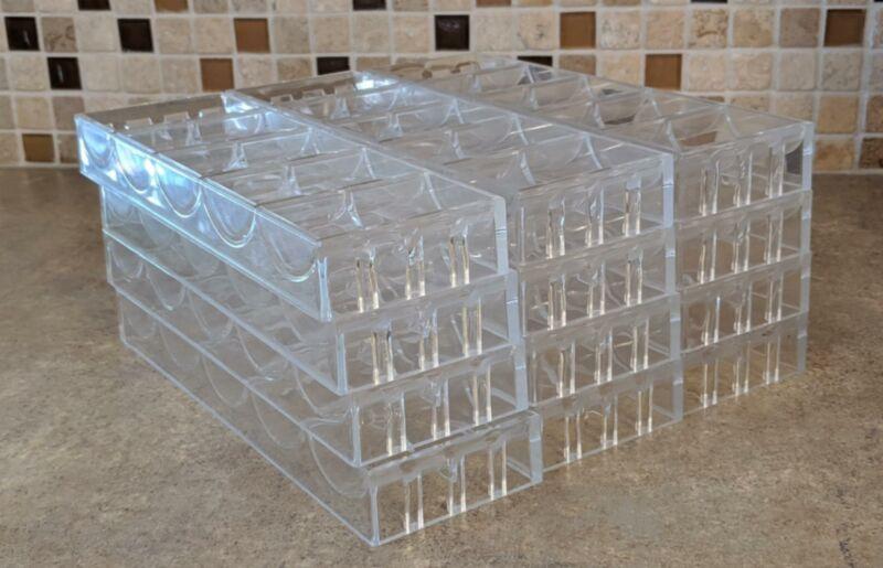 """Lot of 12 Used Bud Jones Plastic Poker Chip Trays 9 1/4"""" 43mm racks TRUMP PLAZA!"""