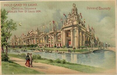 """1904 St. Louis World's Fair Postcard """"Hold To Light"""" Palace Of Electricity"""