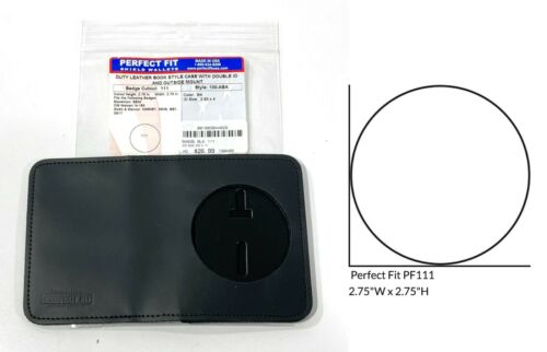 PERFECT FIT 100-ADA BOOK STYLE LEATHER BADGE DOUBLE ID CASE OUTSIDE MOUNT ROUND