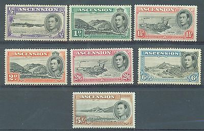 Ascension 1938 perf 13.1/2 seven vales to 5/- MH