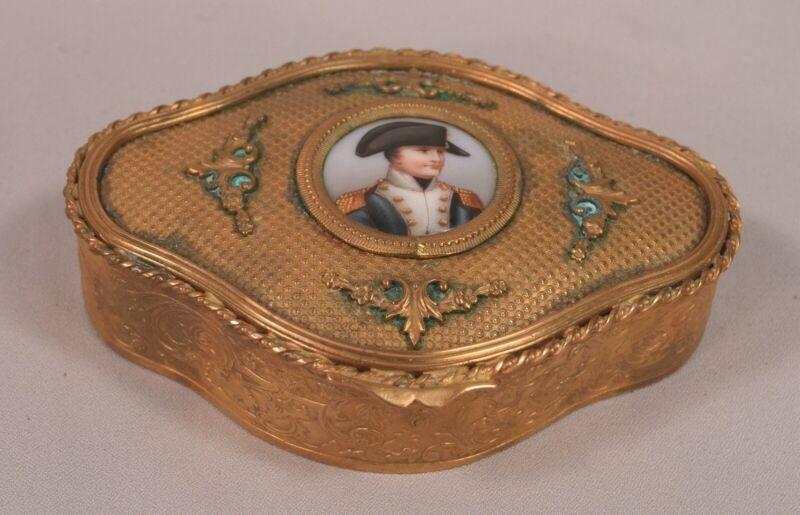 Antique Napoleon Painting on Porcelain Metal Box