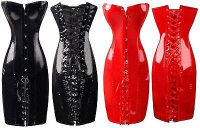 Sexy Damen Korsagen-Kleid Korsett Lack Wetlook Kostüm Leder - Korsett Kleid Kostüm