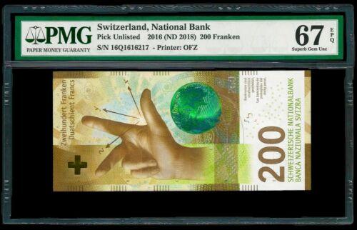 Switzerland 2016 - 200 Franken Banknote PMG Superb Gem UNC 67 EPQ