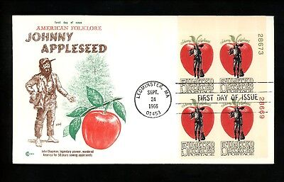 US FDC #1317 Cover Craft M-13 1966 Leominster MA Johnny Appleseed Folklore (Johnny Appleseed Craft)
