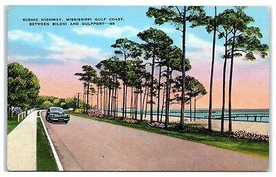 Mid-1900s Scenic Highway, Mississippi Gulf Coast, Biloxi to Gulfport Postcard