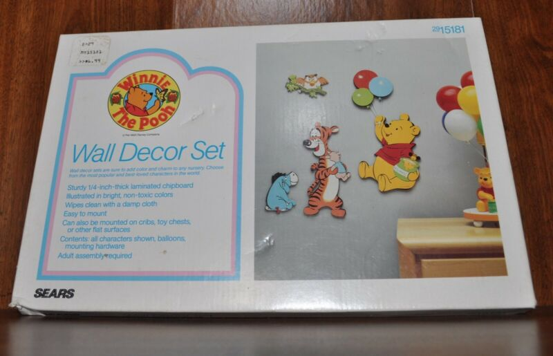 NOS NEW, SEALED Vintage SEARS Winnie the Pooh WALL DECOR SET