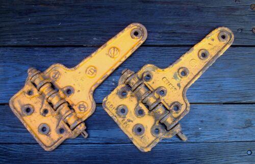 "(2) Railroad Boxcar Hinges ""HUGE"" --or>> gate--barn--fence--garage--"