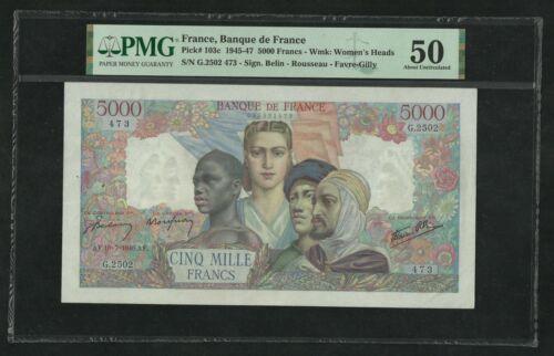 France : 5000 Francs Empire (18-7-1946) ; PMG : About UNC 50