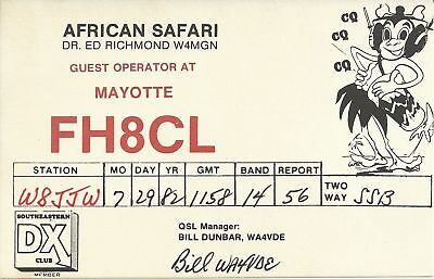 OLD VINTAGE FH8CL AFRICAN SAFARI MAYOTTE AMATEUR RADIO QSL CARD