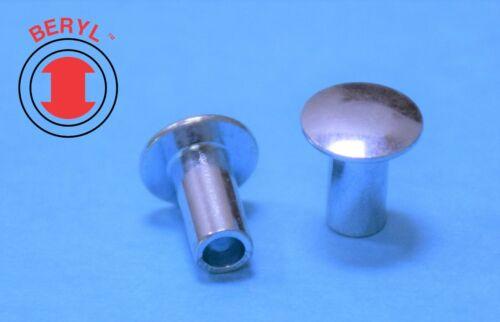 "Stainless Steel Oval Head Semi-tubular Rivets - 1/16""X3/16"" OHTR116316 - 100pcs"