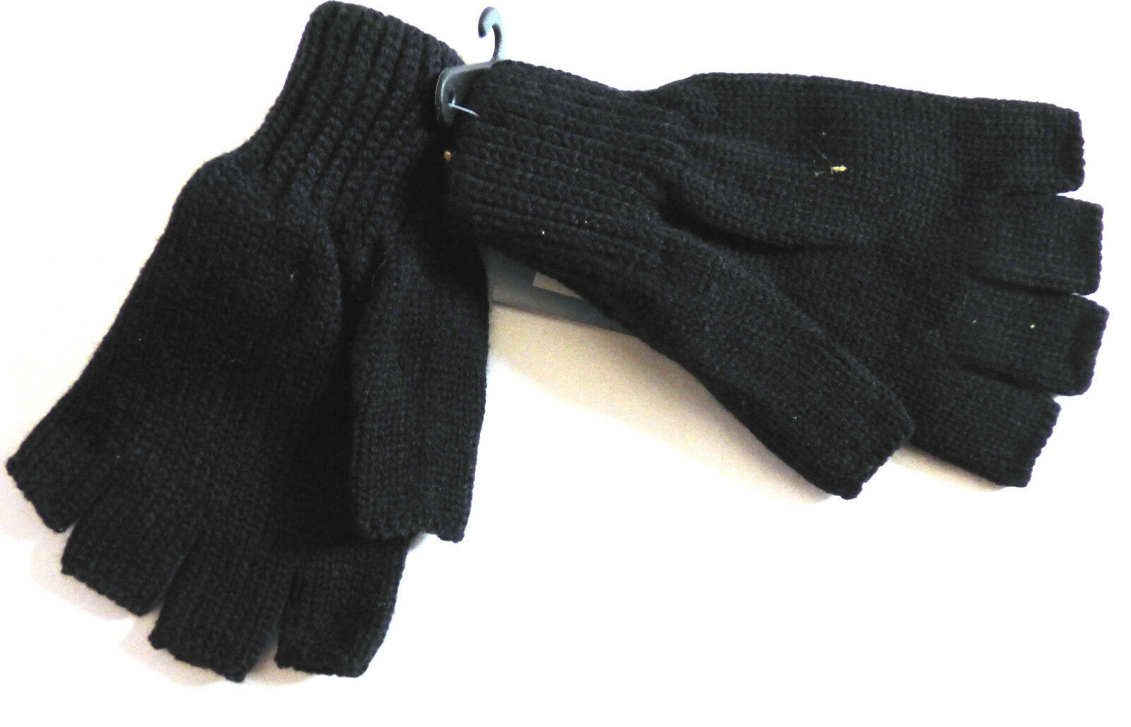 Ladies Black Knitted Fingerless Gloves One Size