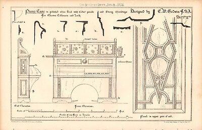 1874 ANTIQUE ARCHITECTURE, DESIGN PRINT- PIANO CASE BY E W GODWIN