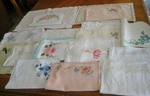VTG Linen 28 Placemats hand embroidered Applique needle work Fabulous lot