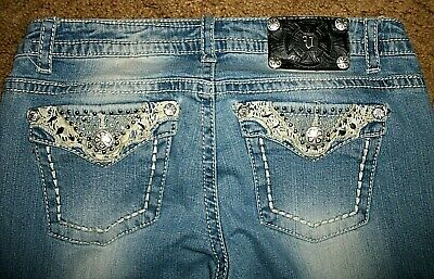 Distressed Flare Jeans - Women's Junior's Vanilla Star Distressed Embellished Flare Jeans Sz 9 (30 X 32)