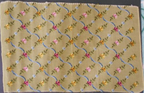"""Floral Ribbon 29""""x18""""  Finished Needlepoint Canvas  Background UNWORKED 10 Count"""