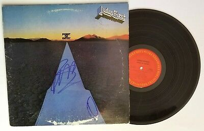 Judas Priest REAL hand SIGNED Point Of Entry Vinyl COA Autographed by Rob & Ian