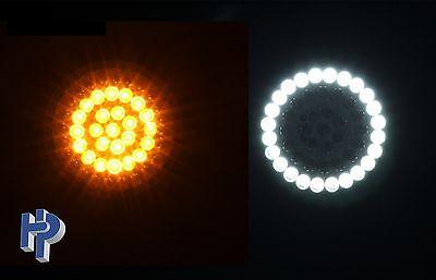 CUSTOM DYNAMICS TURN SIGNAL LED WHITE/AMBER RING HARLEY BULLET+ SMOKE LENSES