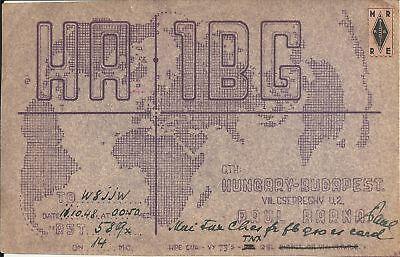 OLD VINTAGE HA1BG BUDAPEST HUNGARY AMATEUR RADIO QSL CARD