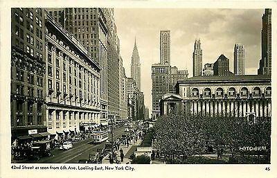 NYC 42ND STREET SEEN FROM 6TH AVENUE LOOKING EAST RPPC (42nd Street 6th Avenue)