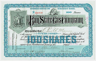 Bay State Gas Company 1915 National Stock Certificate