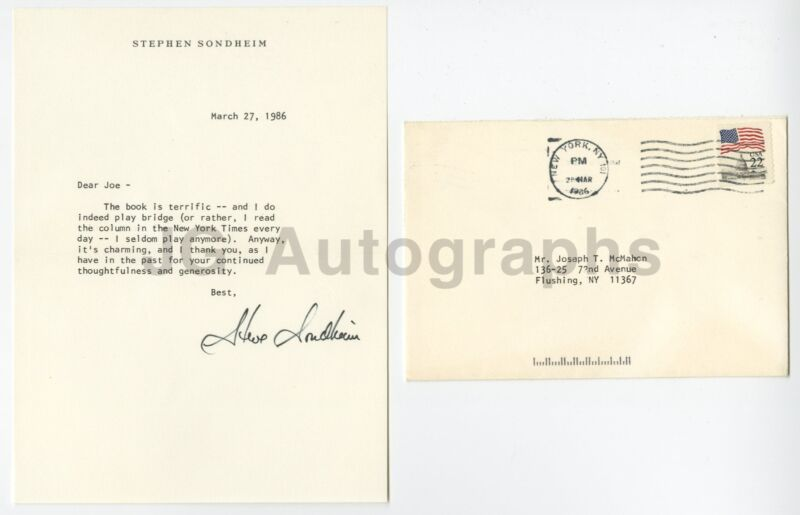 Stephen Sondheim - Musical Theatre - Autographed Typed Letter (TLS), 1986