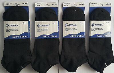 12 pares calcetines cortos tobilleros. Hombre. Negro. Algodón. Talla 40 / 46