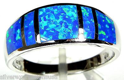 Deep Blue Fire Opal Inlay 925 Sterling Silver Men's, Woman Band Ring size 6 - 13 Blue Opal Inlay Ring