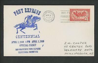 US POSTAL HISTORY PONY EXPRESS CENTENNIAL 1960 SAN FRANCISCO CA 1120