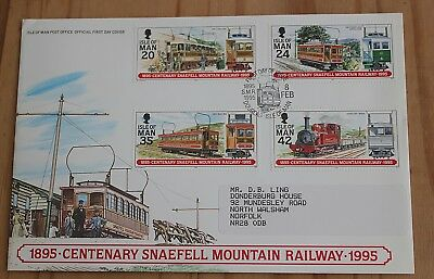 Isle of Man First Day Cover; Snaefell Mountain Centenary 1895-1995 8th Feb 1995