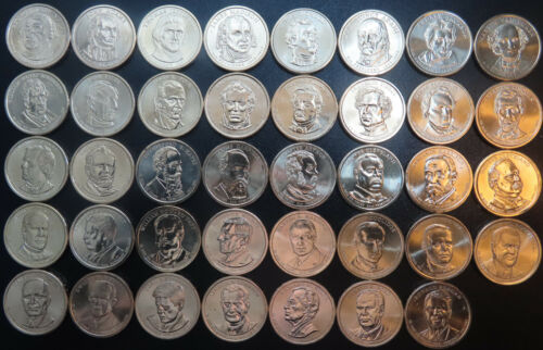 2007-2016 Presidential Golden Dollars, 1 Each Loose 39 Coin Set From Mint Rolls