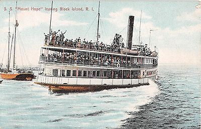 c.1910 SS Mount Hope leaving Block Island RI post card