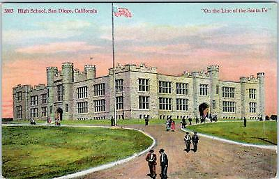 San Diego  Ca California  High School   On  Line Of The Santa Fe  C1910spostcard