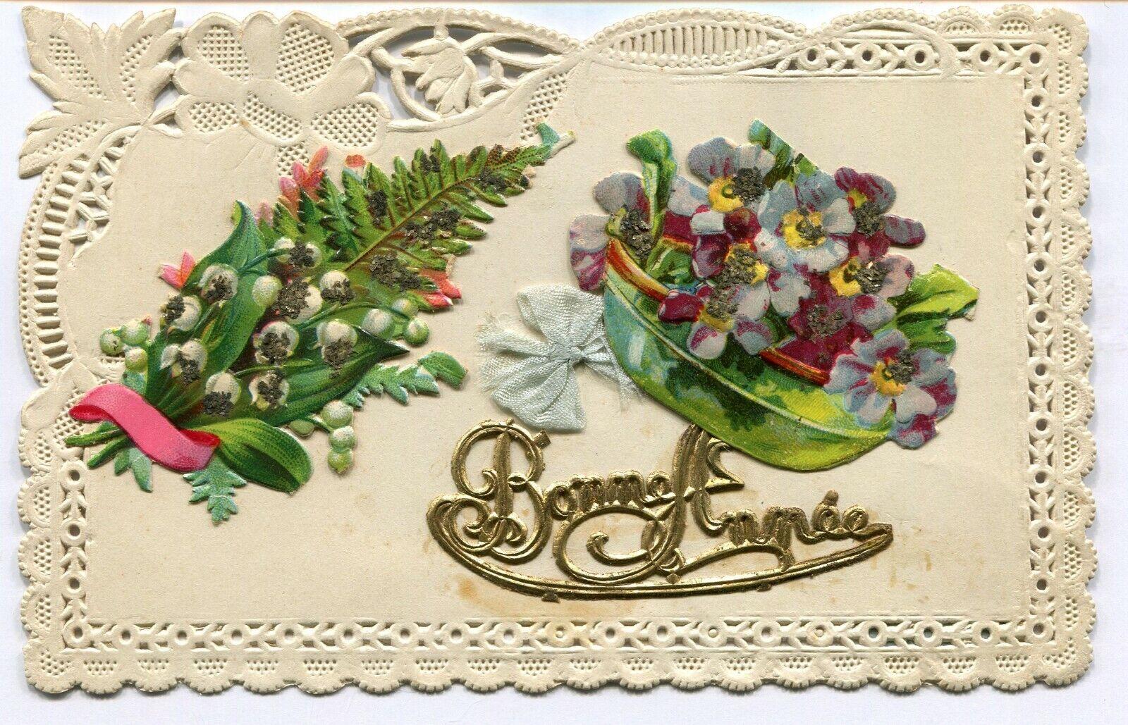 CPA - Carte Postale - Fantaisie - Bonne Année - Fleur - Carte en Relief (C8663)
