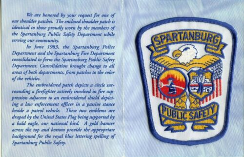 PRESENTATION FOLDER & SPARTANBURG SOUTH CAROLINA PUBLIC SAFETY FIRE POLICE PATCH