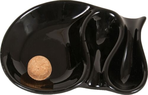 "Black Color 8.5"" Ceramic 2 Pipe Ashtray with Cork"