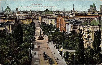 München Munich Bavaria 1914 Straßenbahn Maximilianstraße gelaufen nach Naundorf