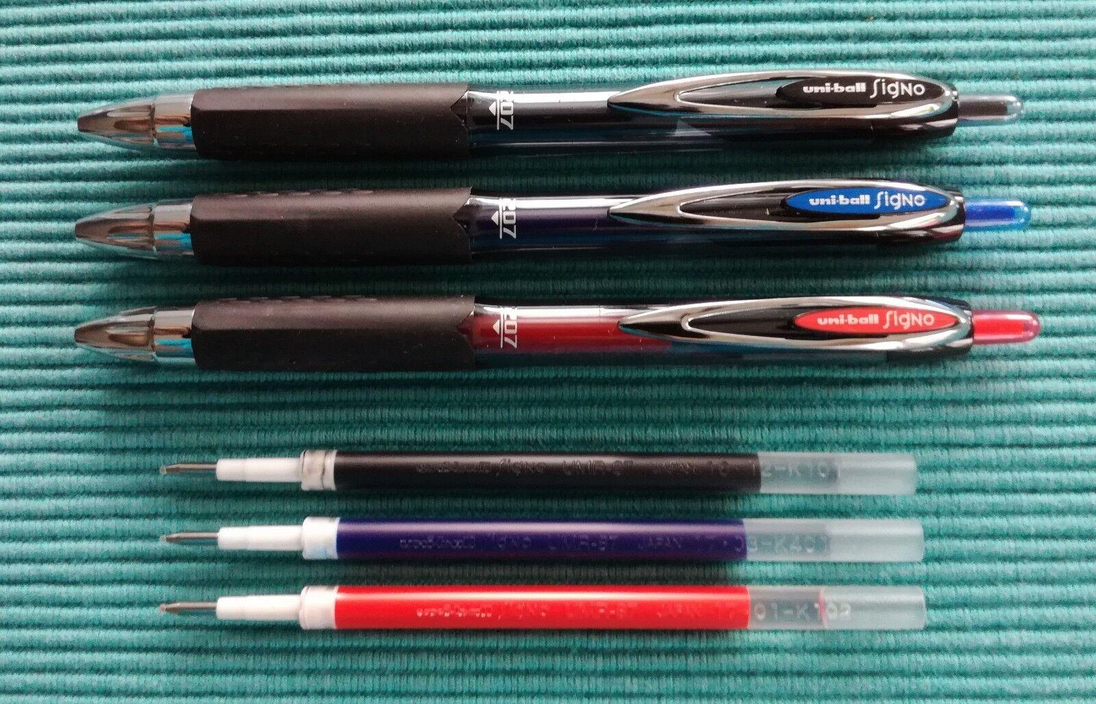 uniball signo Gelschreiber 207 schwarz, blau, rot UMN-207 und Ersatzminen UMR-87