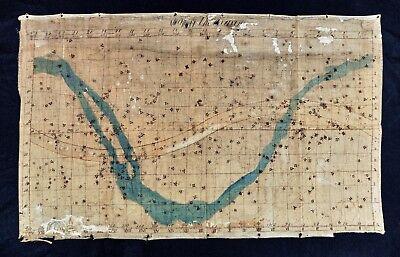 c. 1835 Burritt Star Map on Linen - Celestial Planisphere Map of Heavens - Rare!
