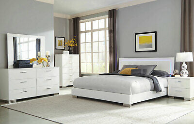 Contemporary White Finish Bedroom Furniture - 5pcs Queen Platform Bed Set IA93