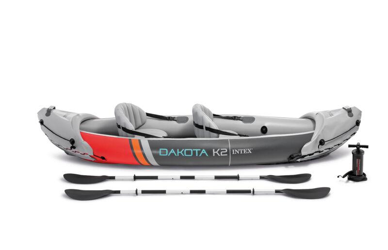 Intex Dakota K2 2 Person Vinyl Inflatable Kayak and Accessory Kit w/ Oars & Pump