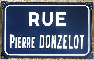 Old French enamel steel road street sign plaque name Pierre Donzelot Montbéliard