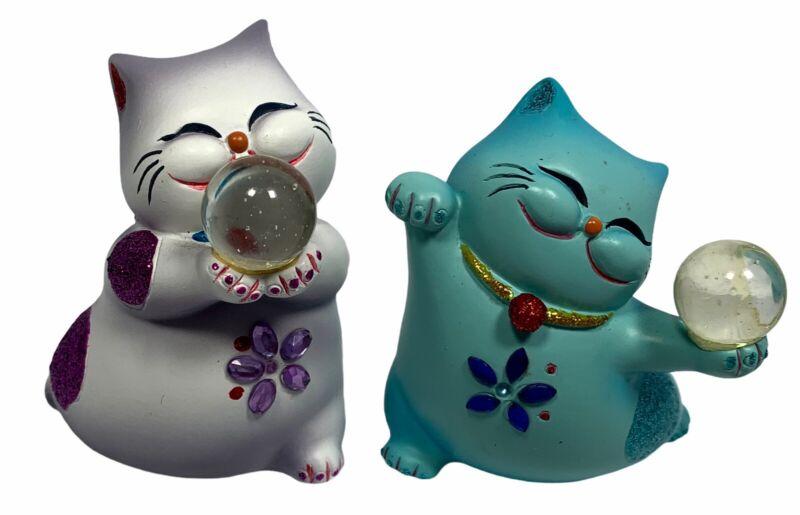 Blue Lavender Fortune Teller Maneki Neko LUCKY CAT Figure Figurines Crystal Ball