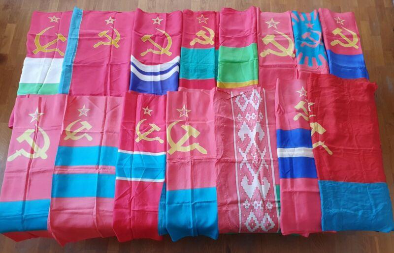 SET OF 15 FLAGS OF THE SOVIET SOCIALIST REPUBLICS EMBLEM HAMMER AND SICKLE USSR