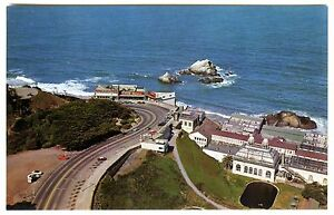 1960s SAN FRANCISCO AERIAL VIEW CLIFF HOUSE&SUTRO BATHS~ORIGINAL UNUSED POSTCARD
